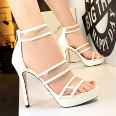 Toko Round Toe High Heels Sandal Wanita Ankle Strap Bertumit Tinggi Sepatu Stiletto Wanita Sepatu Peep Toe Sandal Wanita Pernikahan Platform Shoes Putih Oem
