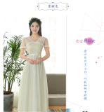 Jual Gaun Pengapit Wanita Model Panjang Lengan Pendek Sedang Gaya Korea Banyak Warna Multimodel B Bagian Renda Lengan Pendek Sampanye Satu Set