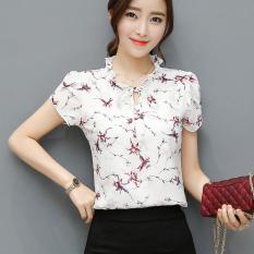 Harga Korea Baru Sifon Lengan Pendek Kemeja Warna Dasar Putih Merah Bunga Baju Lengan Daun Lotus Baju Wanita Baju Atasan Kemeja Wanita Blouse Wanita Online