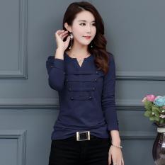 Jual Fang Yuan Ge Kaos Oblong Dasar Wanita Aneka Warna Ditambah Beludru Biru Navy Baju Wanita Baju Atasan Kemeja Wanita Oem Grosir