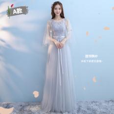 Rok Sister Kembaran Korea Fashion Style Abu-abu Gaun Pengiring Pengantin Gaun (Abu-abu A Model)