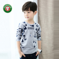 Harga Korea Fashion Style Anak Anak Katun Lengan Panjang Anak Laki Laki Bottoming Kemeja T Shirt Abu Abu Terbaik