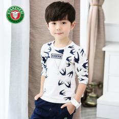 Korea Fashion Style Anak-anak Katun Lengan Panjang Anak Laki-laki Bottoming Kemeja T-shirt (Putih)