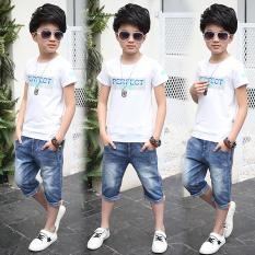 Toko Korea Fashion Style Anak Laki Laki Anak Anak Baru Celana Pendek Denim Putih Tiongkok