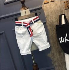 Korea Fashion Style Anak Laki-laki Celana Pendek Denim (Putih (Untuk Mengirim Sabuk Kulit))