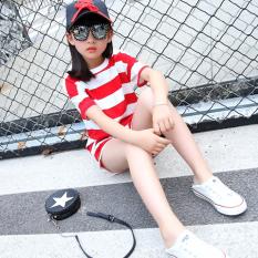 Korea Modis Gaya Anak Laki-laki Gadis Lengan Pendek Busana Children (Merah atau Putih Lengan Bergaris Set [Pria atau Wanita Model Sama])