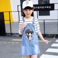 Korea Modis Gaya Anak Perempuan Kecil Lengan Panjang Lengan Bergaris Kaos Keseluruhan (Gambar Warna)