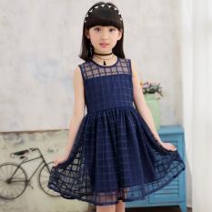 Gaun Baru Gadis Rok Korea Modis Gaya Anak Perempuan Kecil (Biru Tua)