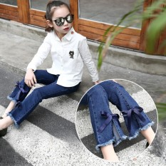 Korea Fashion Style Anak Perempuan Model Musim Semi Dan Musim Gugur Celana Panjang Gadis Jeans (Biru)
