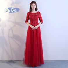 Baju Pelayanan Gaun Malam Korea Fashion Style Anggur Merah Mempelai Wanita Baru (Renda Arak Anggur Warna Model Panjang Bagian B)