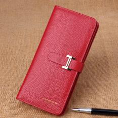 2016 Produk Asli wanita Gaya Korea lapisan pertama dompet kulit sapi Gaya Korea pasang model wanita model panjang dompet kulit Kapasitas Besar penjepit tiket