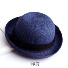 Topi musim panas topi wanita Gaya Korea Atas Bulat Topi jerami Sederhana  dan Elegan pinggiran digulung 2c4fd47575