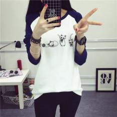 Baju Kaos Gaya Korea Awal Musim Semi Atasan Wanita Longgar