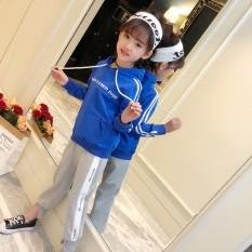 Korea Modis Gaya Bagian Panjang Baru Remaja Atasan Kaos Sweater (Biru)