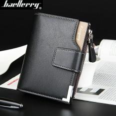 Korea Fashion Style bagian vertikal mahasiswa multifungsi dompet pria pendek ayat wallet (Hitam tidak ada