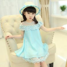 Gaun Sifon Anak Perempuan Versi Korea (Biru) (Biru)
