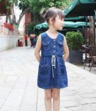 Beli Korea Fashion Style Baru Anak Anak Vest Gadis Gaun Biru Tua Biru Tua Lengkap