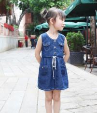 Jual Korea Fashion Style Baru Anak Anak Vest Gadis Gaun Biru Tua Biru Tua Tiongkok