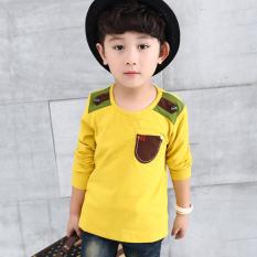 Korea Modis Gaya Baru Anak Laki-laki Leher Bulat Lengan Panjang Kaos (Anak Laki-laki Saku Baju kaos Kuning)