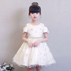 Korea Modis Gaya Baru Anak Perempuan Kecil Lengan Pendek Gaun Putri Gadis Gaun (Putih)