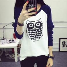 Kaos Korea Fashion Style Baru Musim Semi Atasan Wanita (Biru Tua)