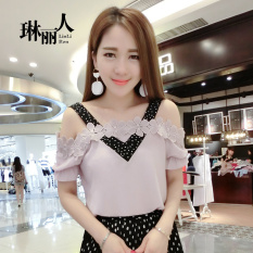 Spesifikasi Korea Fashion Style Baru Renda Renda Flounced Blus Akar Teratai Pati Warna Kemeja Baju Wanita Baju Atasan Kemeja Wanita Blouse Wanita Merk Oem