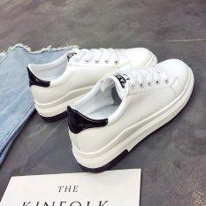 Korea Fashion Style Baru Renda Sepatu Sepatu Kets Putih (Putih Hitam)