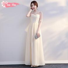 Kualitas Korea Fashion Style Baru Pertemuan Tahunan Slim Gaun Busana Pendamping Pengantin Warna Kuning Muda Bagian B Oem