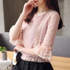 Korea Fashion Style Baru Wanita Lengan Pendek Kemeja Kecil Baju Dalaman (Merah Muda)