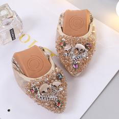 Harga Korea Fashion Style Batu Kristal Air Ibu Wanita Perahu Sepatu Sepatu Wanita Emas Yang Murah