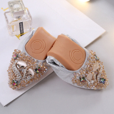Diskon Korea Fashion Style Batu Kristal Air Ibu Wanita Perahu Sepatu Sepatu Wanita Perak Branded
