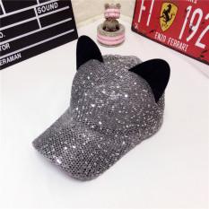 Promo Topi Model Biasa Benang Perempuan Topi Imut Telinga Kucing Abu Abu Gelap Murah