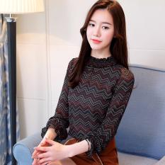 Korea Modis Gaya Lengan Bergaris Pada Pakaian Dicetak Kerah Baju Dalaman Lengan Panjang Kemeja Jersey Rayon (Biru Tua Panjang Lengan Bergaris)