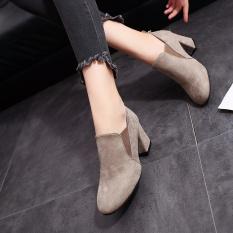 Cuci Gudang Korea Fashion Style Berkepala Persegi Tebal Bertumit Tinggi Sepatu Wanita Ankle Boots Coklat Muda Warna Sepatu Wanita Flat Shoes