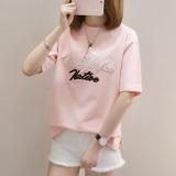 Diskon Produk Korea Fashion Style Bordir Perempuan Lengan Pendek Baju Kaos Huruf Lengan Pendek T Shirt 753 Merah Muda