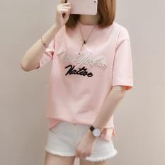 Tips Beli Korea Fashion Style Bordir Perempuan Lengan Pendek Baju Kaos Huruf Lengan Pendek T Shirt 753 Merah Muda Yang Bagus