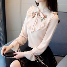 Korea Fashion Style Bordir Wanita Musim Semi Dan Musim Gugur Baju Dalaman Sifon Kemeja (Gambar Warna)