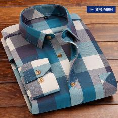 Harga Korea Fashion Style Bulu Halus Pria Lengan Panjang Kemeja Pria Kotak Kotak Kemeja M604 Fullset Murah