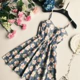 Beli Korea Fashion Style Bunga Cetak Bagian Belakang Gaun Rok Berbentuk Huruf A Light Blue Tiongkok