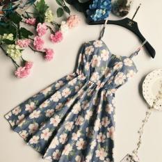 Spesifikasi Korea Fashion Style Bunga Cetak Bagian Belakang Gaun Rok Berbentuk Huruf A Light Blue Yg Baik