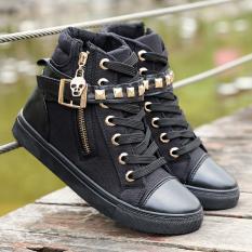 Korea Modis Gaya Bunga Kain Remaja Sekolah Menengah Kasual Sepatu Gadis Kanvas Sepatu (Hitam)