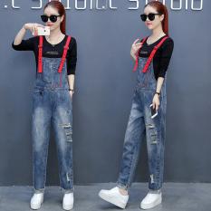 Korea Modis Gaya Celana Jeans Sobek Perempuan Baru Ramping Romper (Hitam)