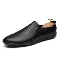 Korea Modis Gaya Musim Semi Sepatu Santai Sepatu Pria (Model Pria + Sepatu Kulit Kacang Hitam)