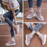 Penawaran Istimewa Korea Fashion Style Datar Dengan Siswa Datar Sepatu Olahraga Pergelangan Kaki Tinggi Kanvas Sepatu Merah Muda 6808 Terbaru