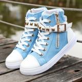 Promo Korea Fashion Style Datar Sepatu Sekolah Pergelangan Kaki Tinggi Kanvas Sepatu Danau Biru Sepatu Wanita Sepatu Sport Sepatu Sneakers Wanita Tiongkok
