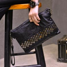 Ulasan Korea Fashion Style Dicuci Kulit Amplop Clutch Bag Tas Tas Bahu Kulit Lembut Tas Tangan Hitam