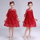 Gaun Musim Panas Baru Gaun Putri Korea Fashion Style Anak Perempuan Merah Tiongkok