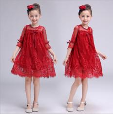Penawaran Istimewa Gaun Musim Panas Baru Gaun Putri Korea Fashion Style Anak Perempuan Merah Terbaru