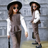Korea Fashion Style Gadis Baru Anak Anak Musim Gugur Gelap Khaki Asli