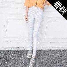 Diskon Korea Fashion Style Hitam Garis Vertikal Musim Semi Celana Perempuan Legging Putih Bagian Tipis Akhir Tahun